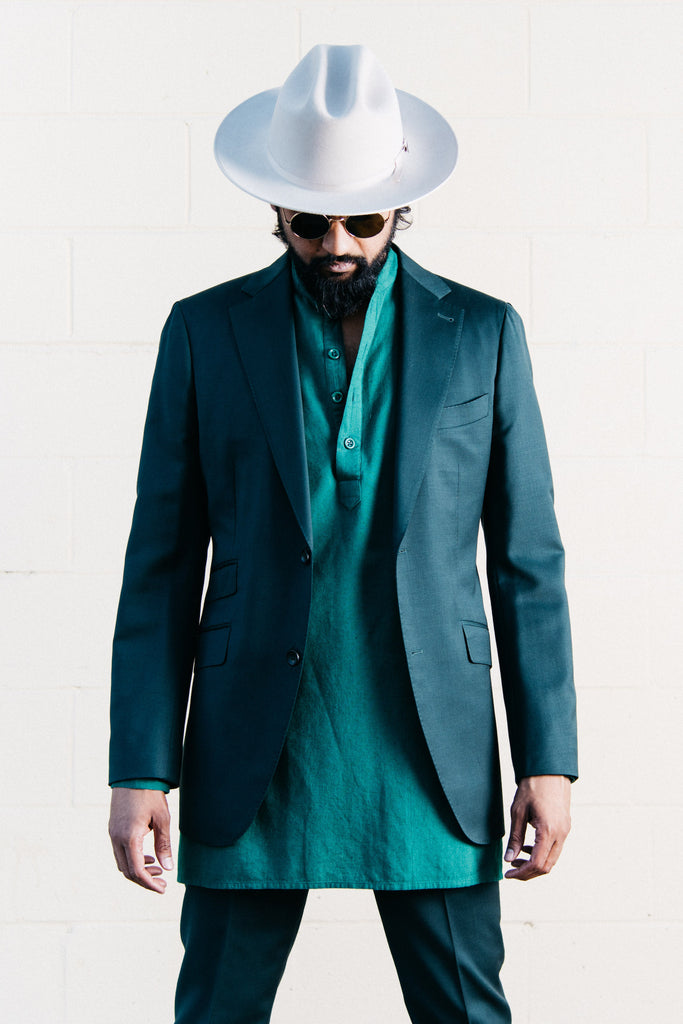 Oversized Garment Dyed Pop-Over 'Bombay' Shirt in Dark Green