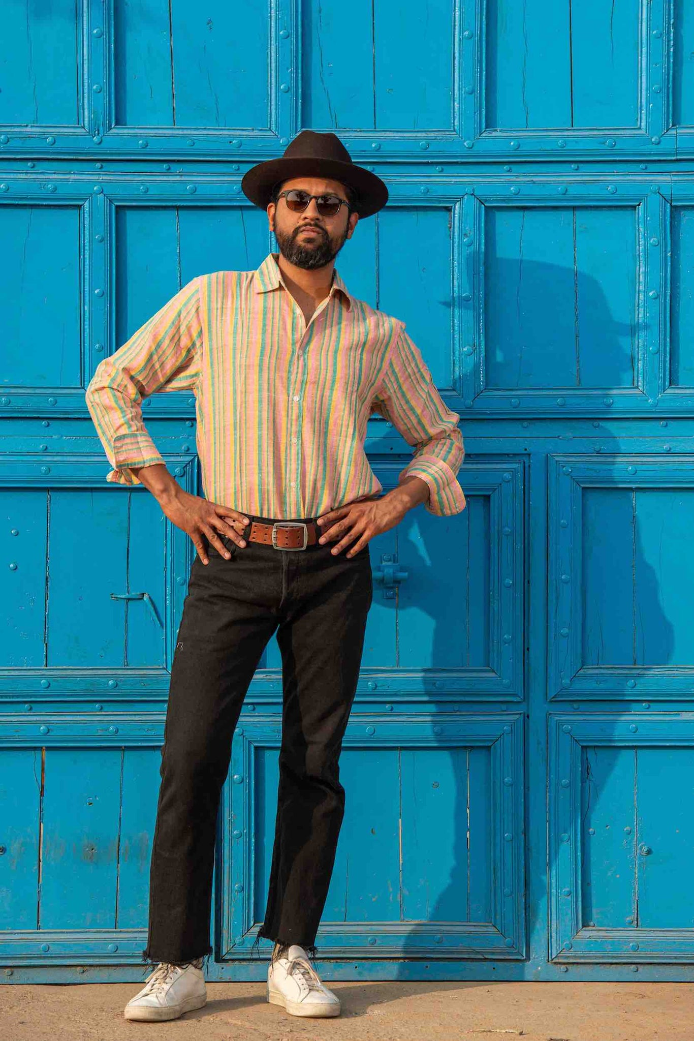 'The Amir' Long Sleeves Shirt in Orange Stripes Hand-loomed Fabric