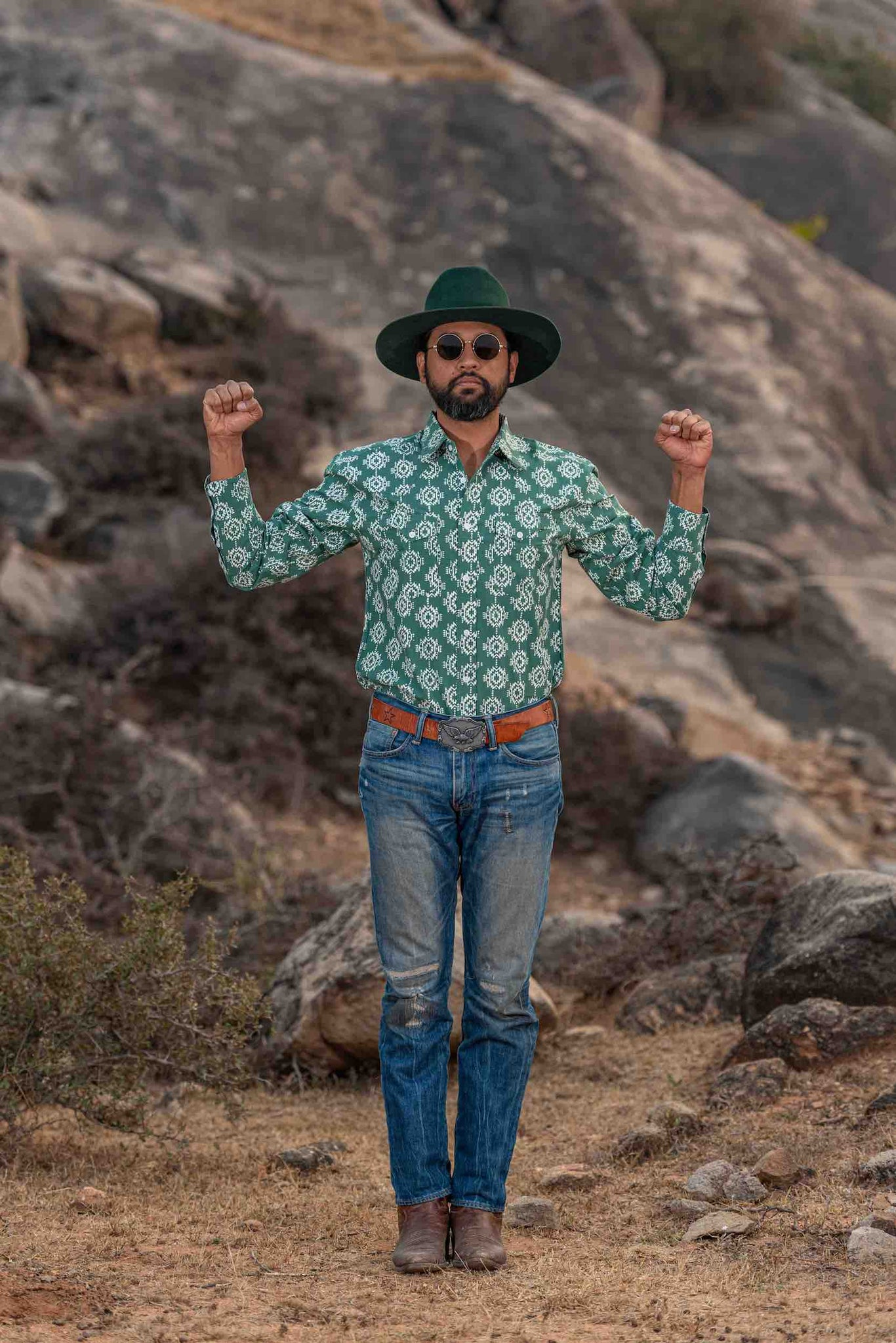 'The Bandit' Western Shirt in 'Aztec' Print