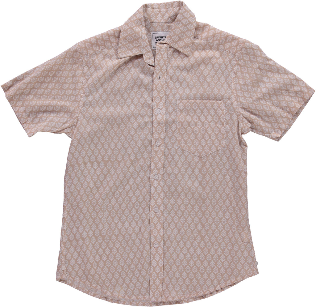 Hand-Printed 'The Folk' Short Sleeve Shirt in 'Leaf' Light Brown Print