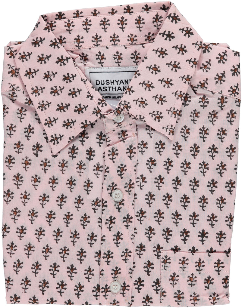 Hand Block-Printed 'The Folk' Short Sleeve Shirt in Salmon 'Motif' Print