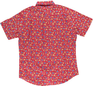 Hand-Printed 'The Folk' Short Sleeve Shirt in Maroon 'Floral' Print