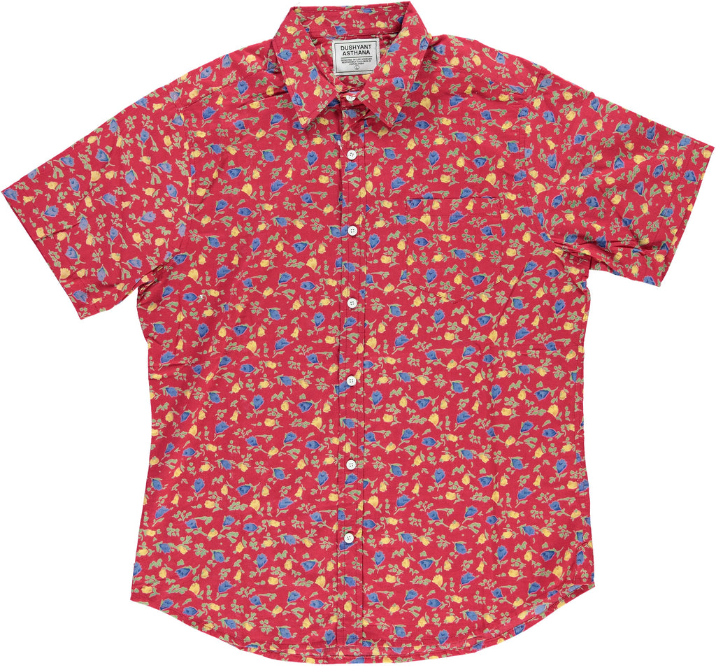 Maroon Hand-Printed 'The Folk' Short Sleeve Shirt