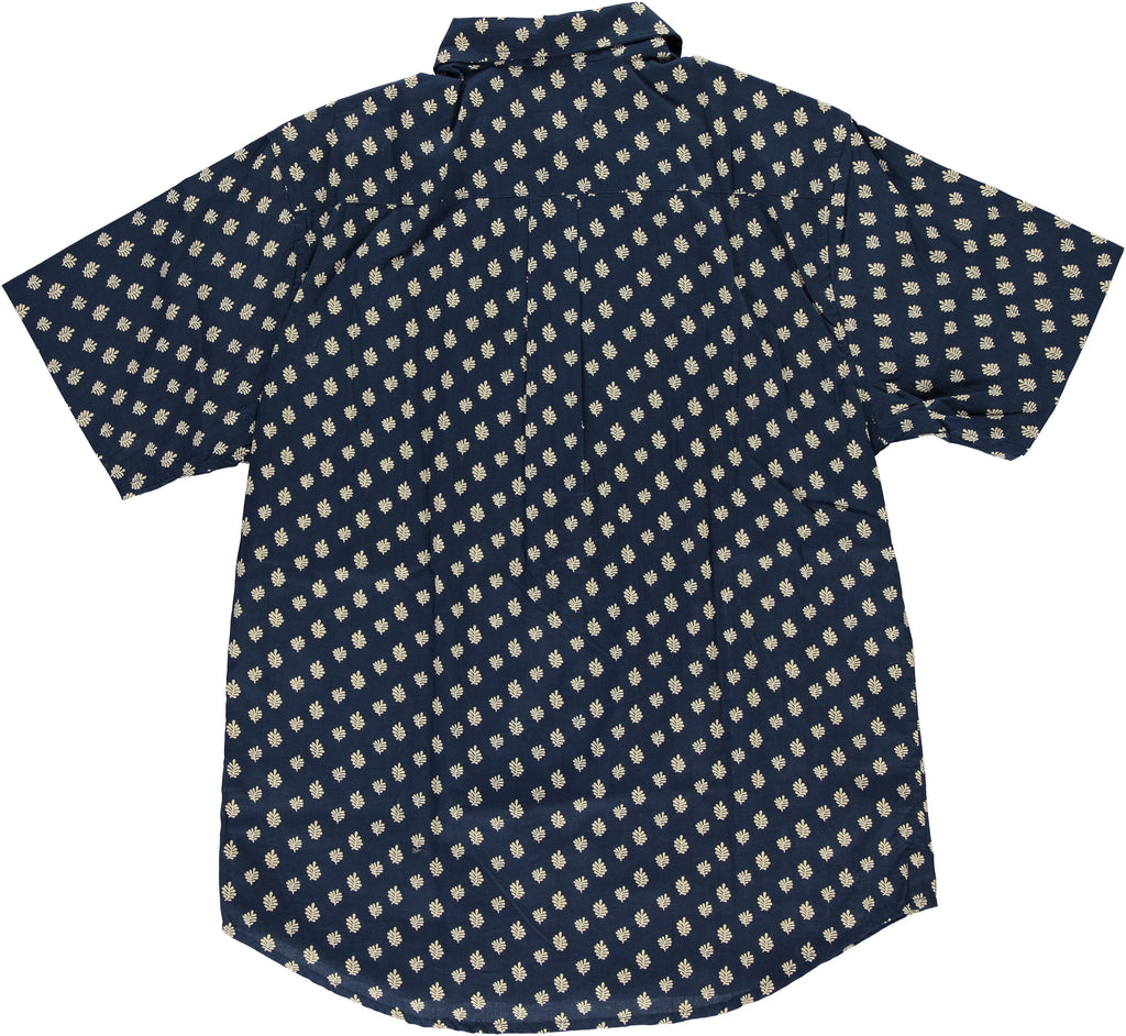 Navy Hand-Printed 'The Folk' Short Sleeve Shirt