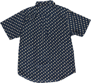 Hand-Printed 'The Folk' Short Sleeve Shirt in Navy 'Matisse' Print
