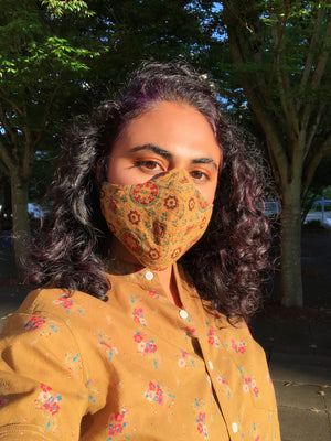 Face Mask with Filter Pocket - Hand Block Printed Fabric - Olive
