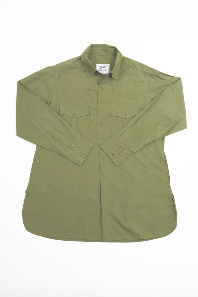 'The Kameez' Oversized Garment Dyed Shirt in Light Olive