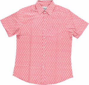 Hand-Printed 'The Folk' Short Sleeve Shirt in 'Leaf' Light Red Print