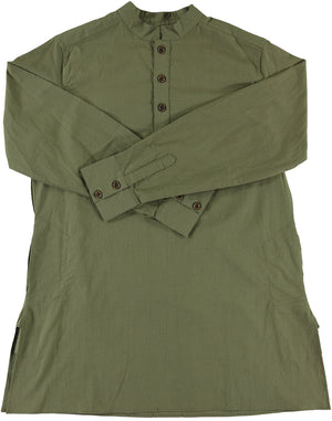 Oversized Garment Dyed Pop-Over 'Bombay' Shirt in Military Olive