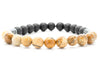 Brown Jasper and Black Onyx Beaded Mens Stretch Bracelet - Orti Jewelry