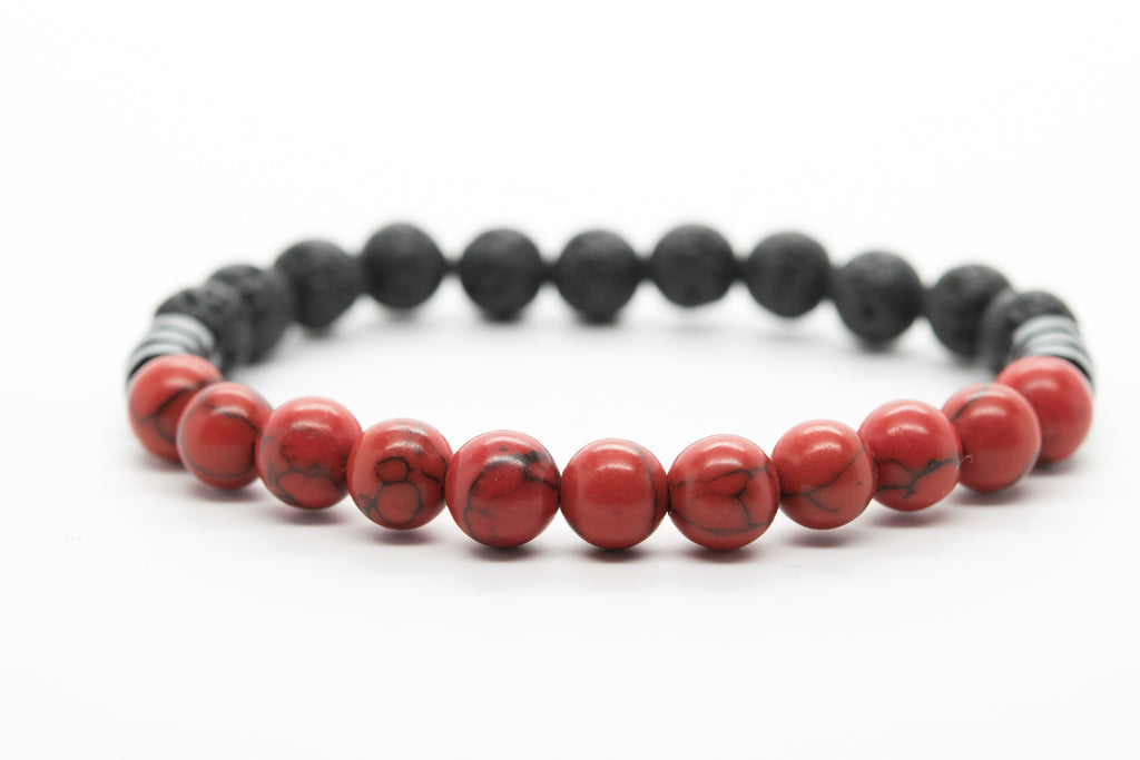 Howlite and Lava Stone Unisex Beaded Bracelet - Orti Jewelry