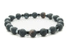 Black Agate Gemstones Beaded Bracelet for Men and Women