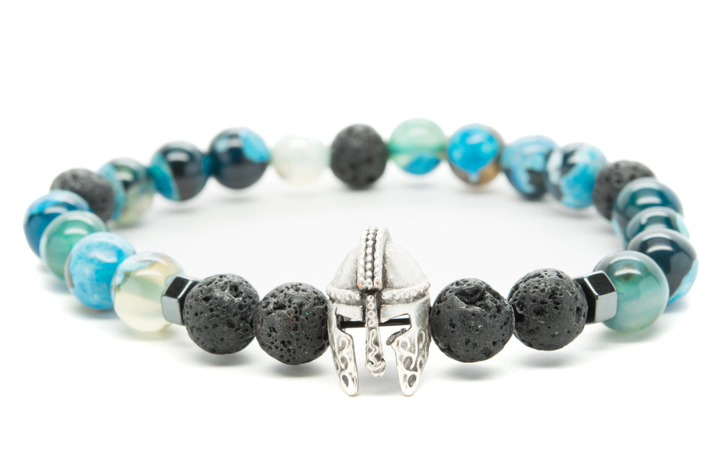 Blue and Black Agate Gemstones Beaded Bracelet for Men and Women