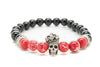 Onyx and Red Variscite Gemstones Beaded Bracelet for Men and Women