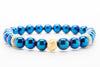 Blue Hematite Beaded Mens Stretch Bracelet - Orti Jewelry