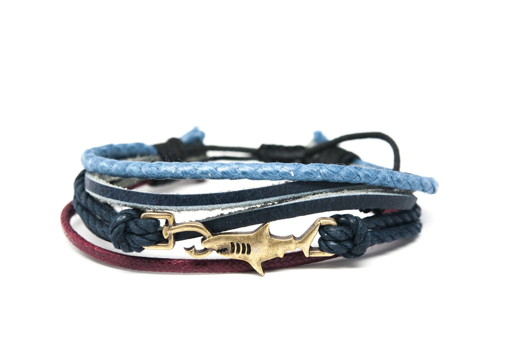 Shark Hook Rope and Leather Adjustable Unisex Charm Bracelet