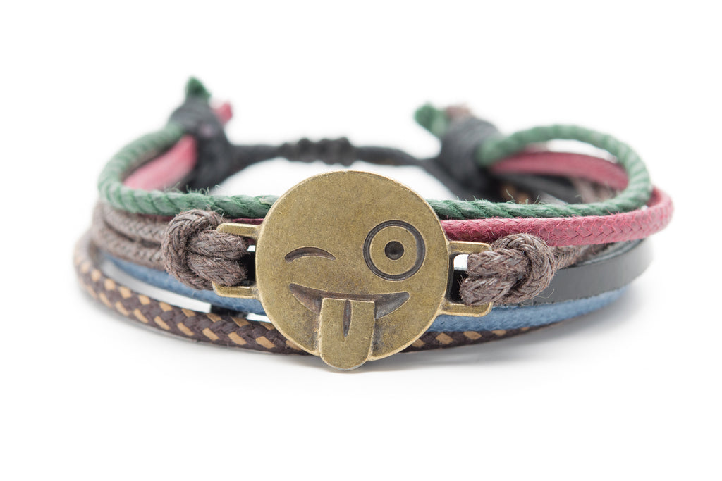 Emoji Bracelet Face With Stuck Out Tongue and Winking Eye Wacky Emoji Zany Emoji Joking Emoji - Orti Jewelry