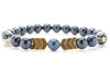 Navy Blue Jasper Beaded Mens Stretch Bracelet - Orti Jewelry