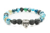 Blue Agate and Black Lava Gemstones Beaded Bracelet for Men and Women