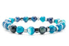 Blue Jasper Beaded Mens Stretch Bracelet - Orti Jewelry