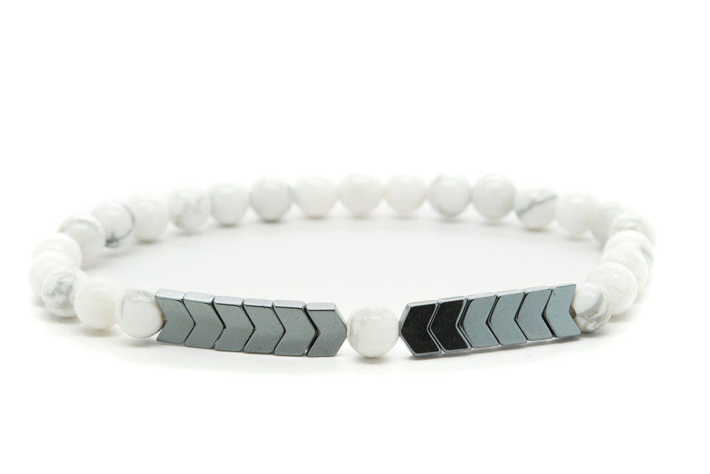 White Howlite Gemstones Beaded Bracelet for Men and Women
