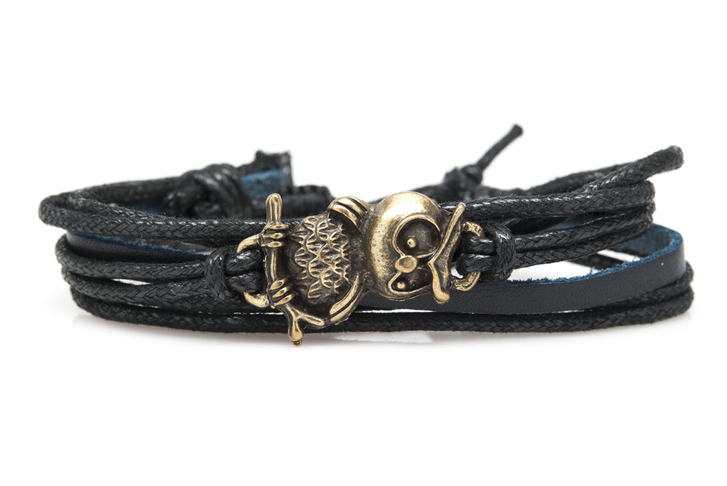 Owl Rope and Leather Adjustable Unisex Charm Bracelet - Orti Jewelry