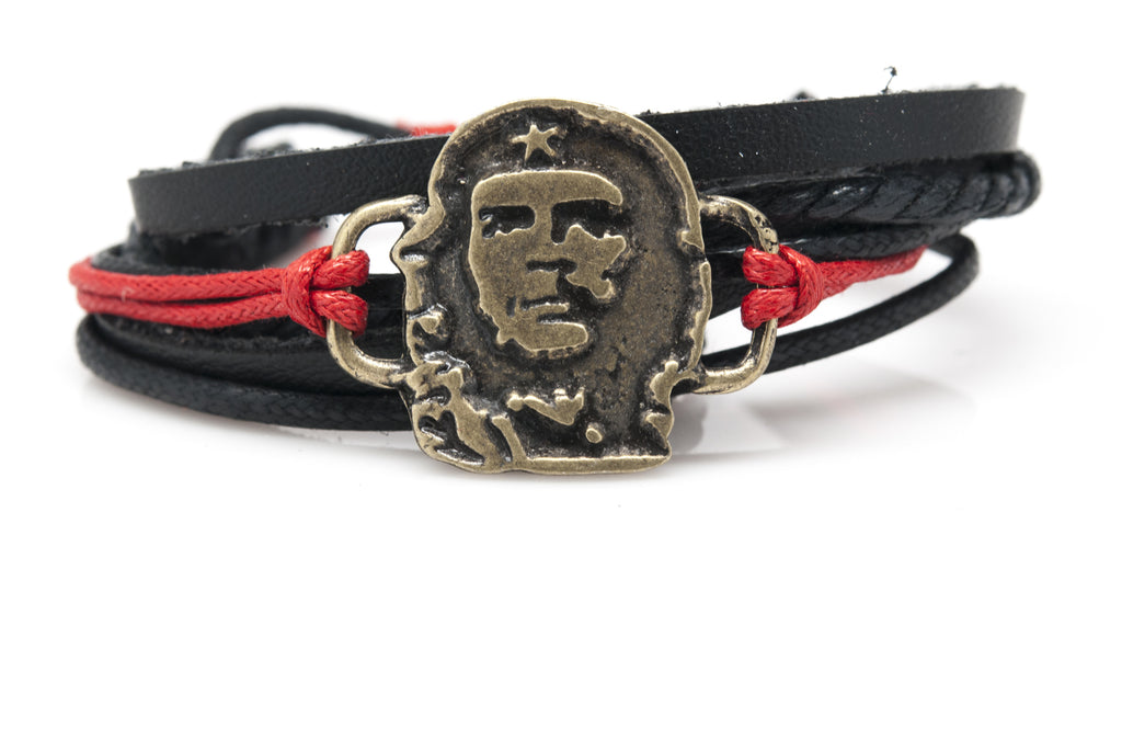 Che Guevara Rope and Leather Adjustable Unisex Charm Bracelet - Orti Jewelry