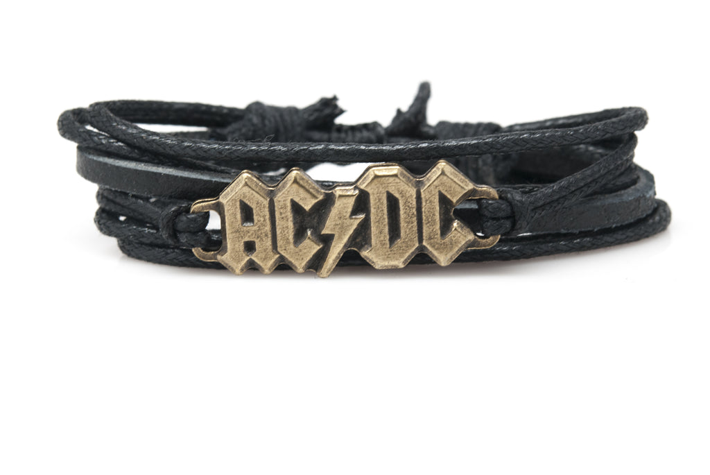AC/DC Rope and Leather Adjustable Unisex Charm Bracelet - Orti Jewelry