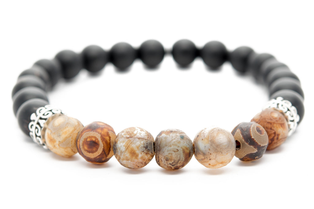 Black Onyx and Tigers Eye Stone Unisex Beaded Bracelet - Orti Jewelry