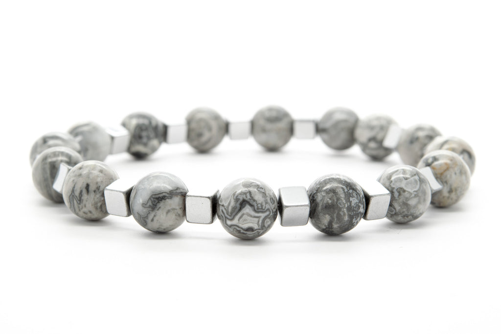 Gray Jasper Beaded Mens Stretch Bracelet - Orti Jewelry
