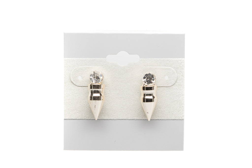 Bullet with Cubic Zirconia Fashion Earrings - Orti Jewelry
