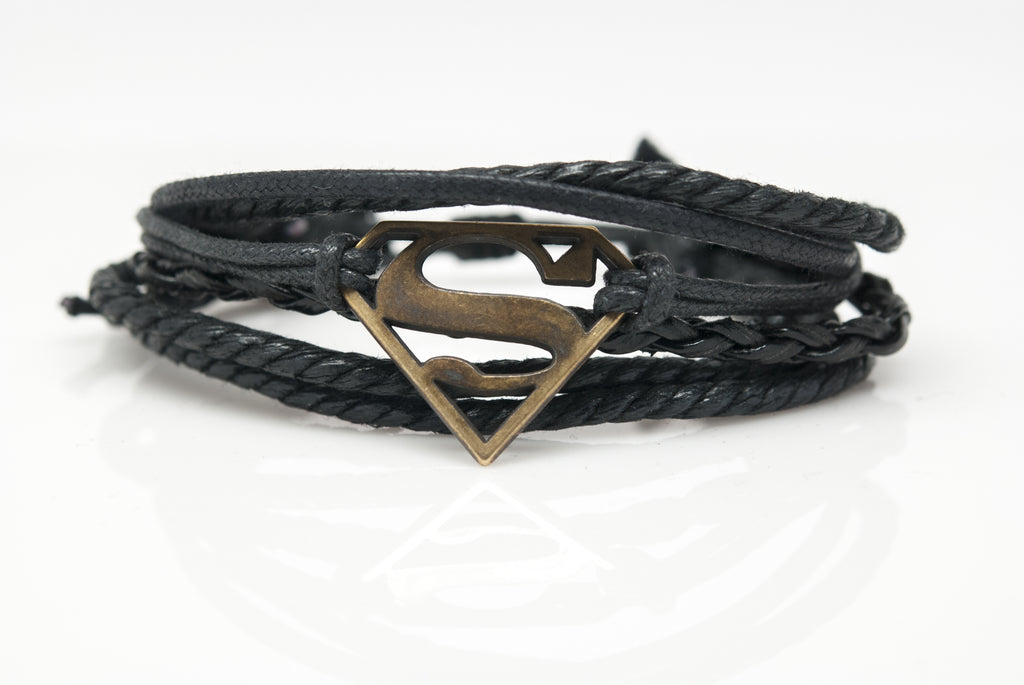 Superman Rope and Leather Adjustable Unisex Charm Bracelet - Orti Jewelry