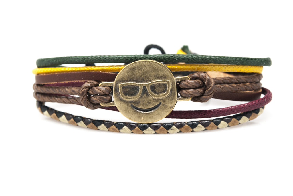 Emoji Bracelet Smiling Face With Sunglasses - Orti Jewelry