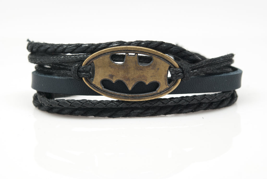 Batman Rope and Leather Adjustable Unisex Charm Bracelet - Orti Jewelry