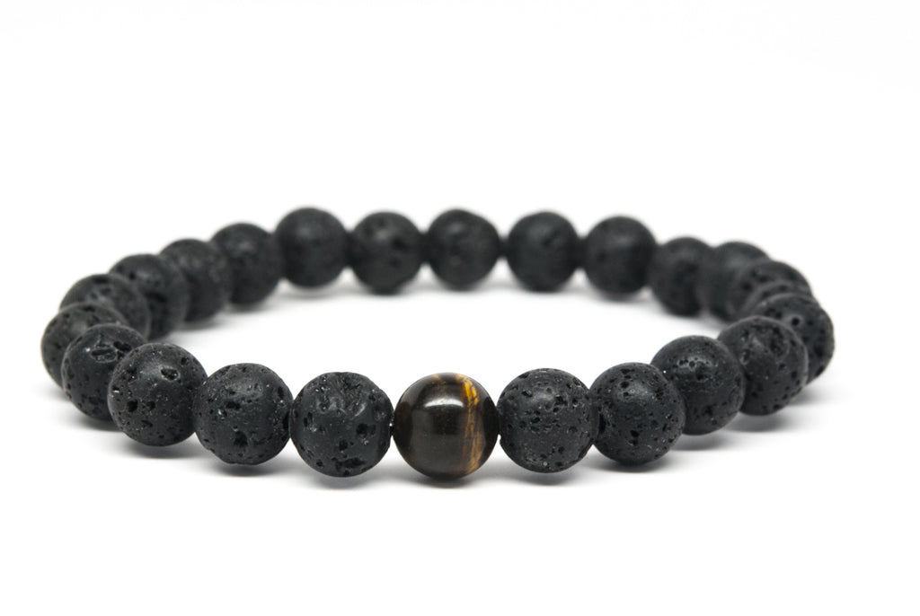Tigers Eye and Lava Stone Beaded Mens Bracelet - Orti Jewelry