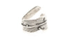 Feather Wrap Antique Silver Plated Adjustable Ring - Orti Jewelry
