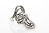 Snake Antique Silver Plated Adjustable Ring - Orti Jewelry