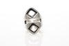 Frame Antique Silver Plated Adjustable Ring - Orti Jewelry
