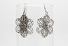 Flower Antique Silver Plated Earrings with French Style Hooks - Orti Jewelry