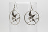 Bird with an Arrow Antique Silver Plated Earrings with French Style Hooks - Orti Jewelry
