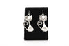 Cat Antique Silver Plated Earrings with French Style Hooks - Orti Jewelry