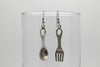Fork and Spoon Antique Silver Plated Earrings with French Style Hooks - Orti Jewelry
