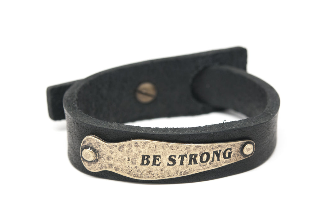 BE STRONG Black Leather Unisex Strap Bracelet - Orti Jewelry
