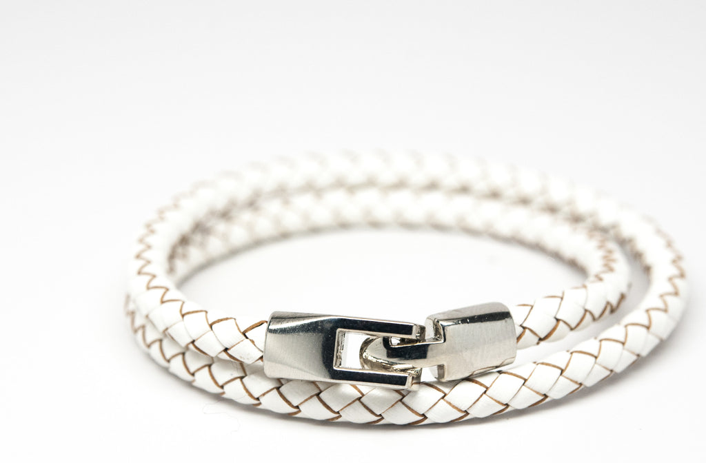 White Braided Double Wrap Leather Bracelet - Orti Jewelry