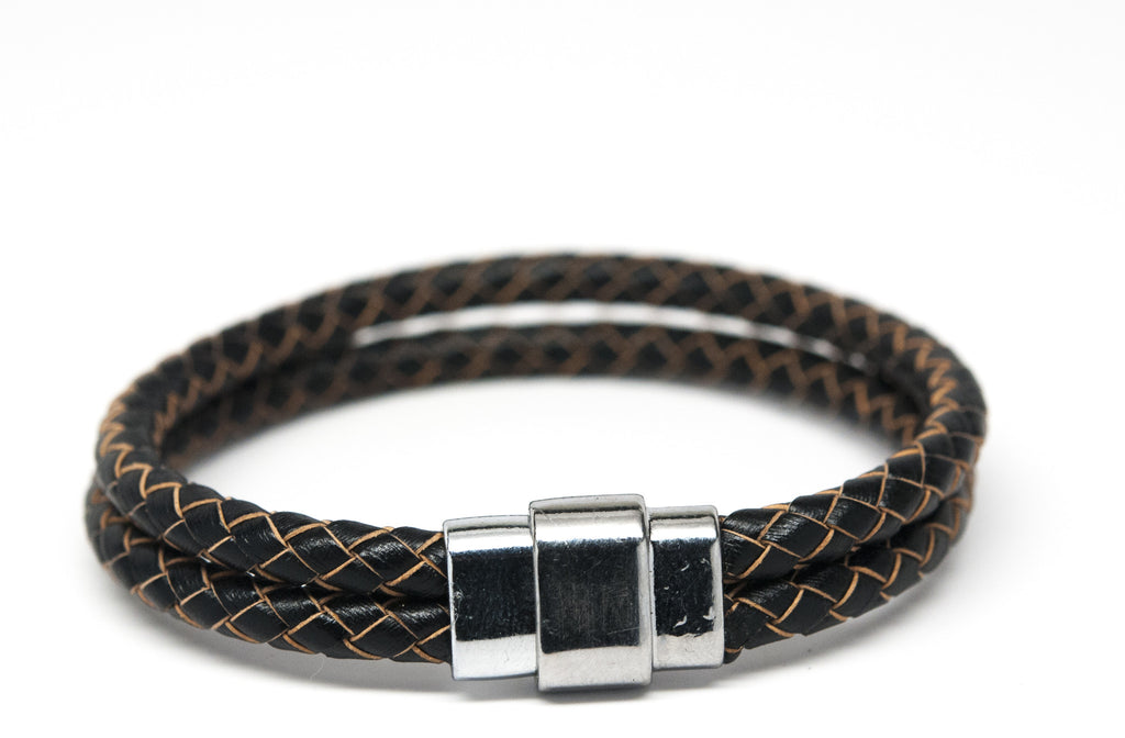 Black Braided Leather Double Bracelet - Orti Jewelry