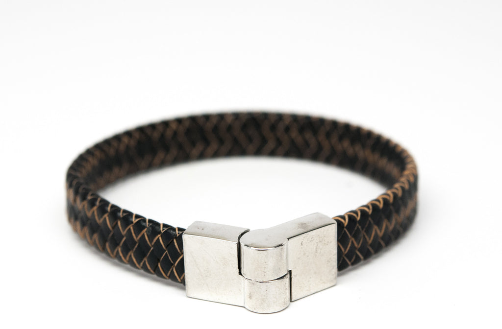 Black Braided Leather Bracelet with Magnet Clasp - Orti Jewelry