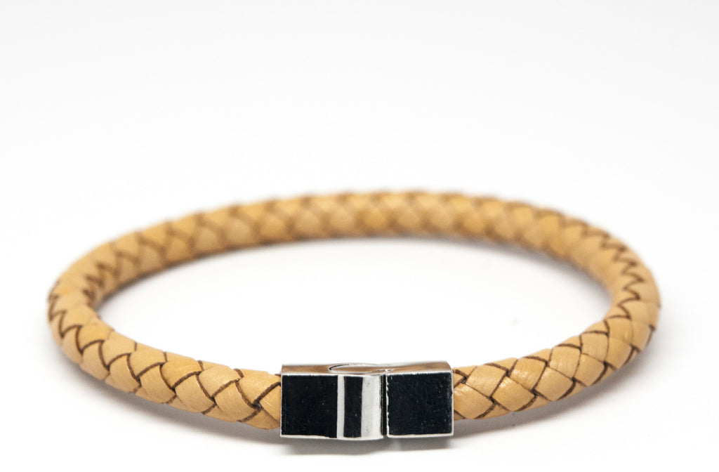 Tan Braided Leather Bracelet with Magnet Clasp - Orti Jewelry