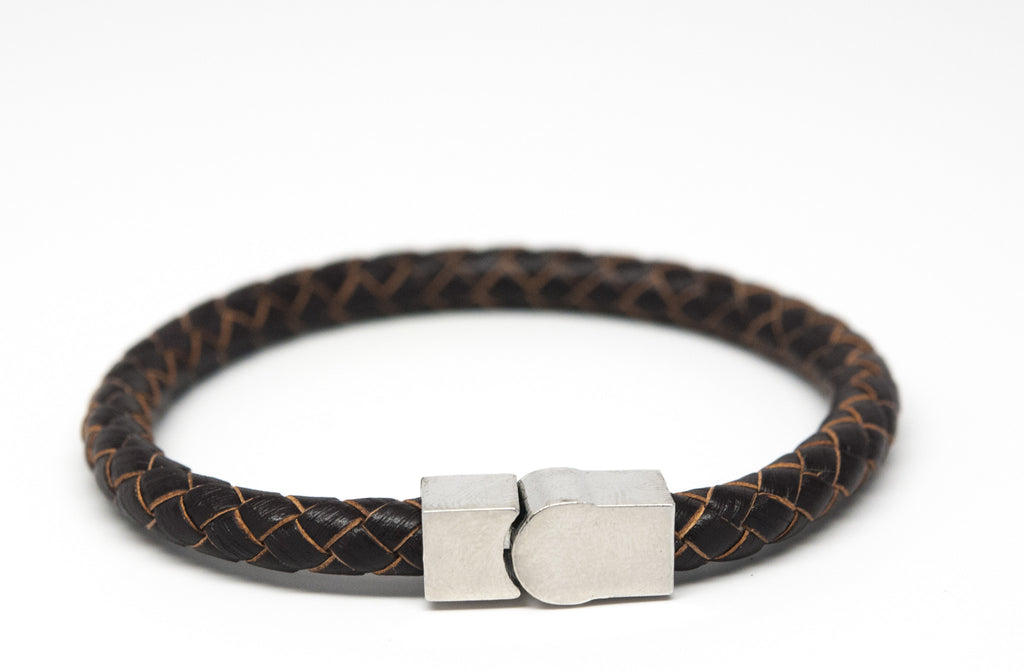 Brown Braided Leather Bracelet with Magnet Clasp - Orti Jewelry