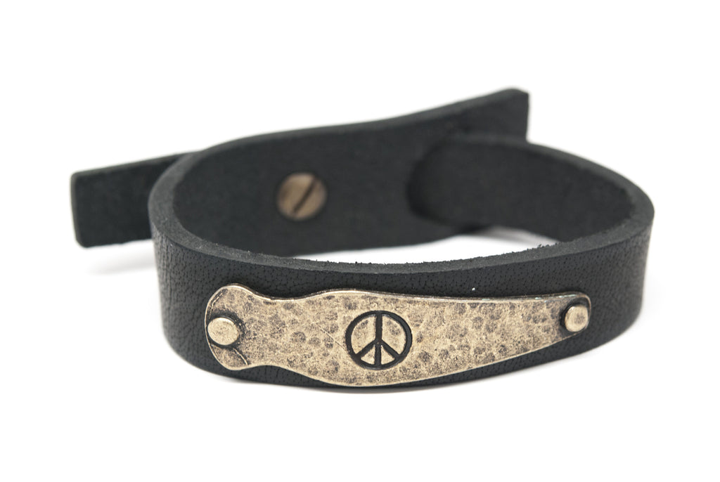 PEACE Black Leather Unisex Strap Bracelet - Orti Jewelry