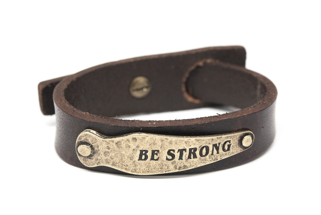 BE STRONG Brown Leather Unisex Strap Bracelet - Orti Jewelry